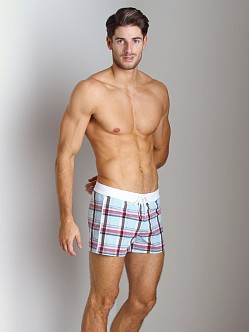 Sauvage Como Italia Plaid Swim Trunk Powder Blue
