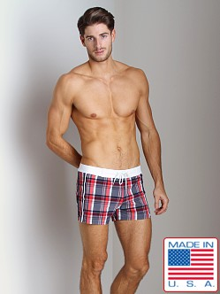 Sauvage Como Italia Plaid Swim Trunk Navy Blue