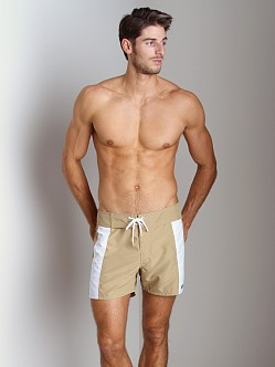 Sauvage Boardwalk Surf Trunks Khaki/White