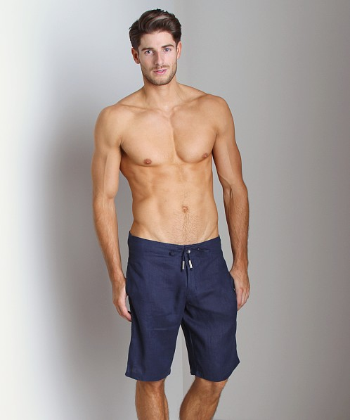 Sauvage 100% Laundered Linen Tropical Short Navy