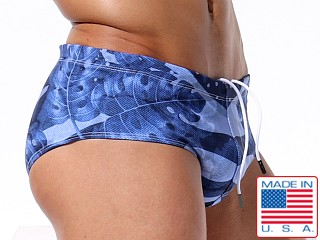 Model in vintage hawaii Rufskin Dungle Swim Brief
