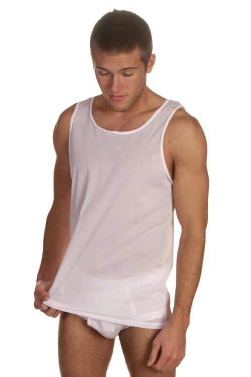 Players White 100% Nylon Tank Top