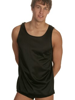 Players Black 100% Nylon Tank Top