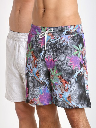 Model in colored tiger print Diesel Vega Reversible Tiger Shorts Multicolor