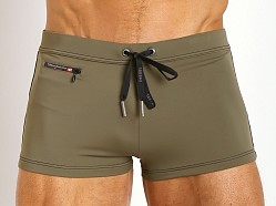 Diesel Aloha Zipper Swim Trunk Olive Green