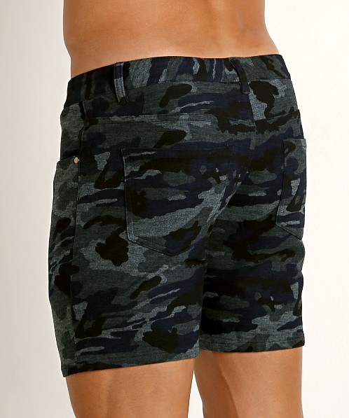 St33le Knit Jeans Shorts Blue Camo