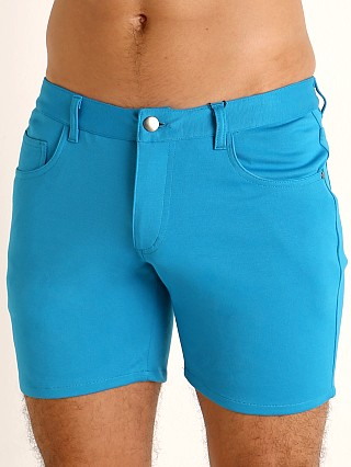 Complete the look: St33le Knit Jeans Shorts Cyan
