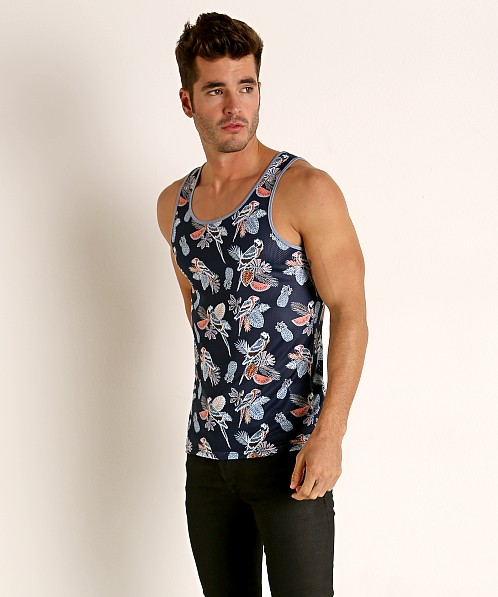 St33le Printed Stretch Mesh Tank Top Navy Birds