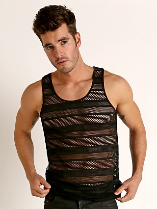 Model in black St33le Stripe Stretch Eyelet Tank Top