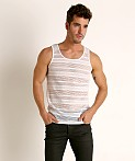 St33le Stripe Stretch Eyelet Tank Top White, view 2