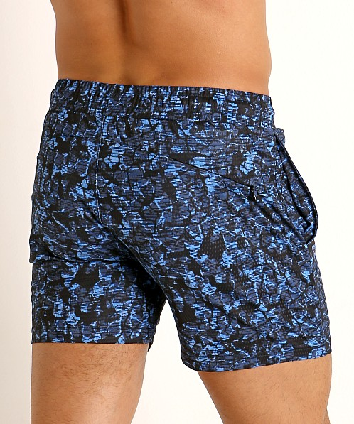 St33le Printed Stretch Mesh Performance Shorts Navy/Cyan Grunge