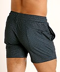 St33le Printed Stretch Mesh Performance Shorts Aqua/Navy Geometr, view 4