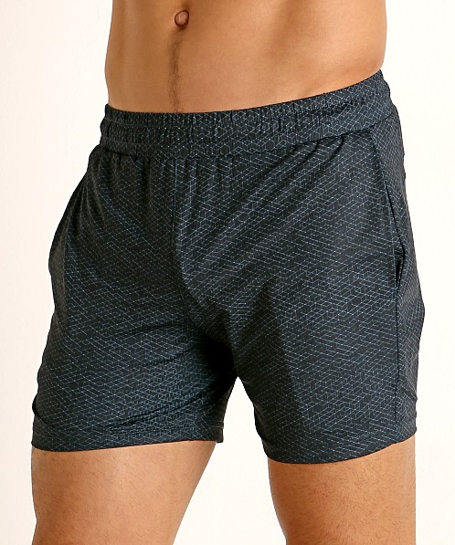 St33le Printed Stretch Mesh Performance Shorts Aqua/Navy Geometr