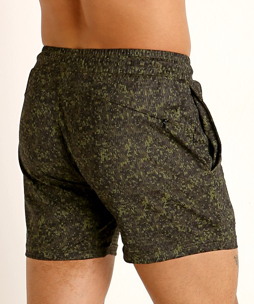 St33le Printed Stretch Mesh Performance Shorts Olive/Army Hex Ca