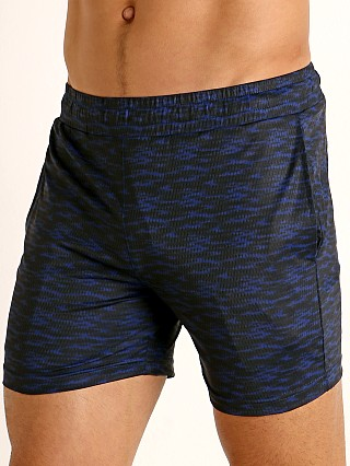 St33le Printed Stretch Mesh Performance Shorts Cobalt/Black Abst