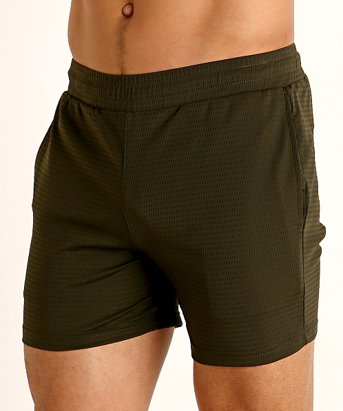 St33le Stretch Mesh Performance Shorts Olive