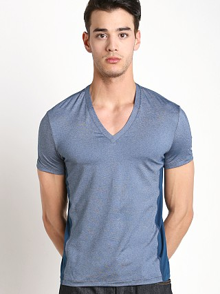 Hugo Boss Cool Cotton V-Neck Shirt Steel Blue