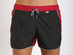 Hugo Boss Snapper Swim Shorts Black & Burgundy