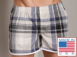 LASC Plaid Euro Swim Short Navy