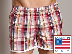 LASC Plaid Euro Swim Short Red