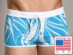 LASC Pool Boy Square Cut Turquoise Print