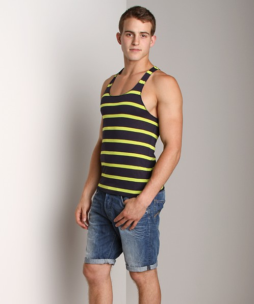 LASC Stripe String Tank Top Navy/Lime