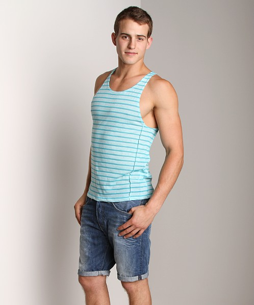 LASC Stripe Reversed Tank Top Aqua