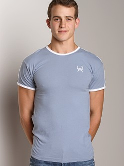 LASC Embroidered Logo Ringer Tee Blue Bell