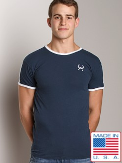 LASC Embroidered Logo Ringer Tee Navy