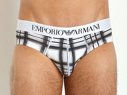 Emporio Armani Printed Fantasy Stretch Cotton Brief Checker