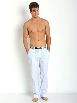 Emporio Armani Yarn Dyed Lounge Pants Light Blue