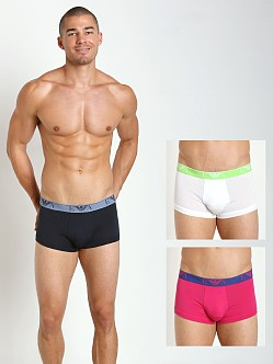 Emporio Armani Stretch Cotton 3-Pack Trunk Marine/White/Fuchsia