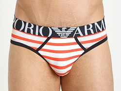 Emporio Armani Solid & Striped Microfiber Brief Orange
