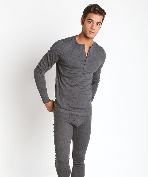 2xist Essential Long Sleeve Henley Charcoal