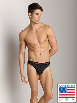 American Jock Athletic Mesh C-Ring Thong Black/Red