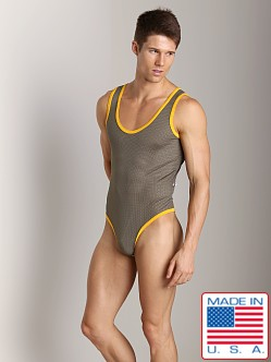 American Jock Athletic Mesh Body Tank Olive/Gold