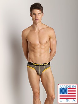 American Jock Athletic Mesh Backless Brief Olive/Gold