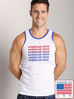 American Jock Athletic Mesh Tank Top White/Royal
