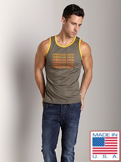 American Jock Athletic Mesh Tank Top Olive/Gold