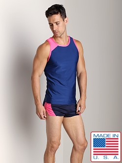 American Jock Competition Tank Top Navy/Neon Pink