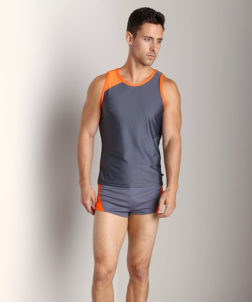 American Jock Competition Tank Top Charcoal/Neon Orange