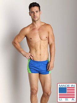 American Jock Competition Running Short Royal/Neon Lime
