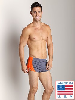 American Jock Competition Running Short Charcoal/Neon Orange