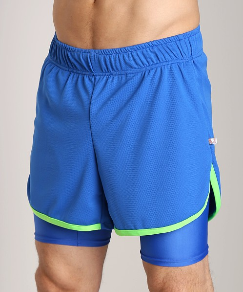 American Jock Competition Workout Short Royal/Neon Lime