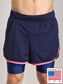 American Jock Competition Workout Short Navy/Neon Pink