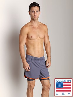 American Jock Competition Workout Short Charcoal/Neon Orange