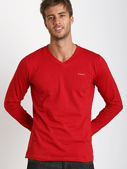 Diesel Justin 100% Cotton V-Neck Sweater Red
