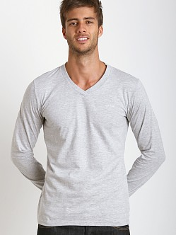 Diesel Justin 100% Cotton V-Neck Sweater Heather Grey