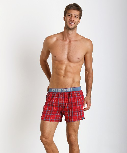 Diesel Luv Plaid Boxer Shorts Red