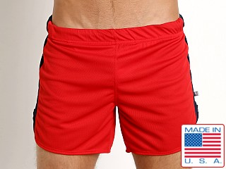 American Jock Sprint Running Short w/Built-In Jock Red/Navy